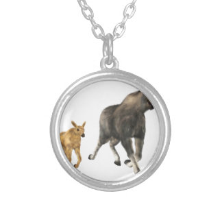 Moose Mom & Baby Silver Plated Necklace