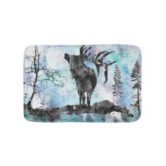 Moose, Moose print, moose art, watercolor moose Bath Mat