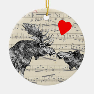 """Moose Music """"The Sound of Moose-ic"""" Loving heart Round Ceramic Ornament"""