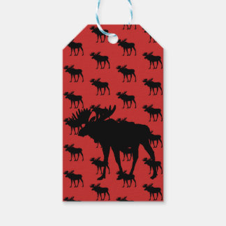 Moose on Red Gift Tags