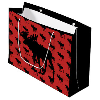 Moose on Red Large Gift Bag