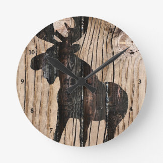 Moose on Wood Clock 3