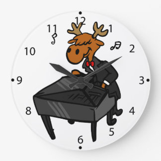 Moose pianist large clock