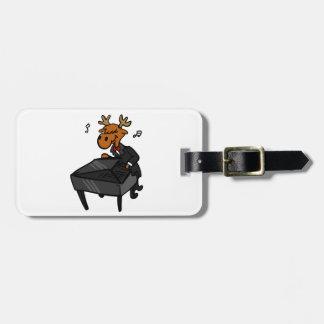 Moose pianist luggage tag