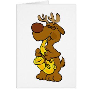 Moose playing the saxophone card
