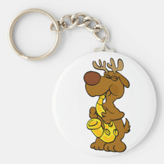 Moose playing the saxophone keychain