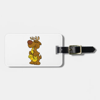 Moose playing the saxophone luggage tag