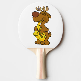 Moose playing the saxophone ping pong paddle