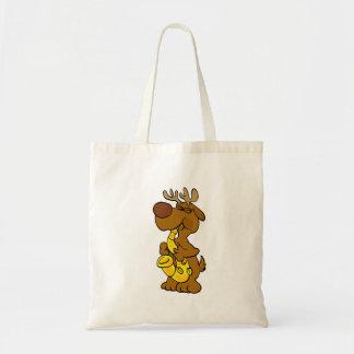 Moose playing the saxophone tote bag