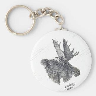 Moose portrait keychain