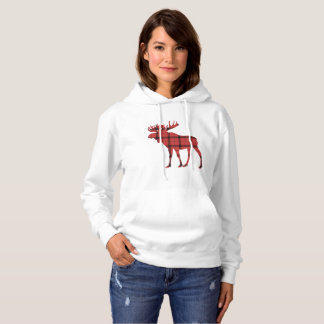 Moose Red and Black Plaid Tartan Winter Pattern Hoodie