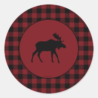 Moose Red Black Check Border Classic Round Sticker