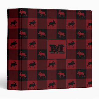 Moose Red Black Plaid Binders