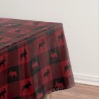 Moose Red Black Plaid Tablecloth