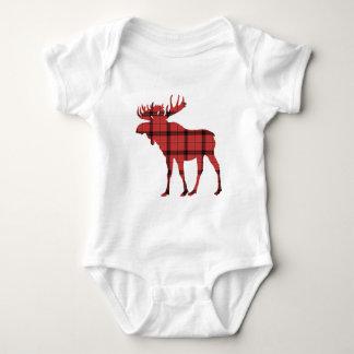 Moose Red Plaid Tartan Pattern Christmas Holiday Baby Bodysuit