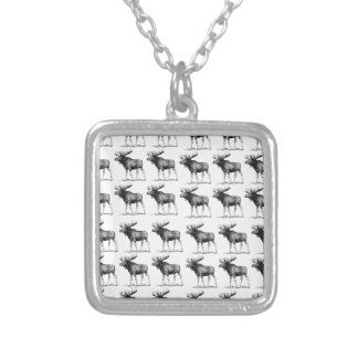 moose repeat moose silver plated necklace