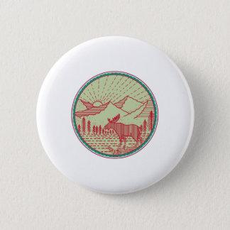 Moose River Mountains Sun Circle Retro 2 Inch Round Button