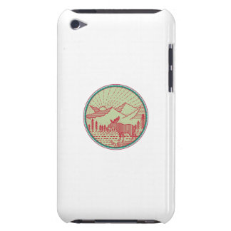 Moose River Mountains Sun Circle Retro Barely There iPod Case