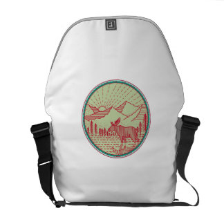 Moose River Mountains Sun Circle Retro Courier Bags