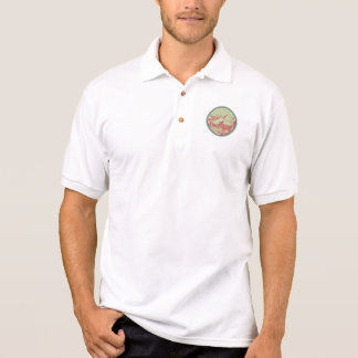 Moose River Mountains Sun Circle Retro Polo Shirt