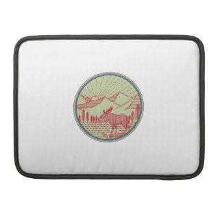 Moose River Mountains Sun Circle Retro Sleeve For MacBooks