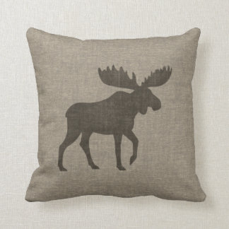 Moose Silhouette Burlap Style Throw Pillow