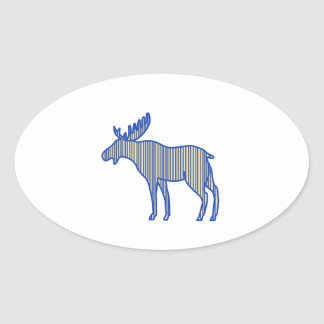 Moose Silhouette Drawing Oval Sticker