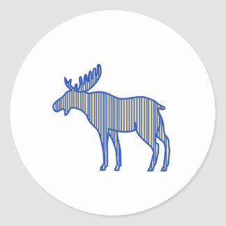 Moose Silhouette Drawing Round Sticker