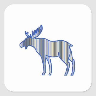 Moose Silhouette Drawing Square Sticker