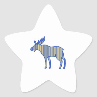 Moose Silhouette Drawing Star Sticker