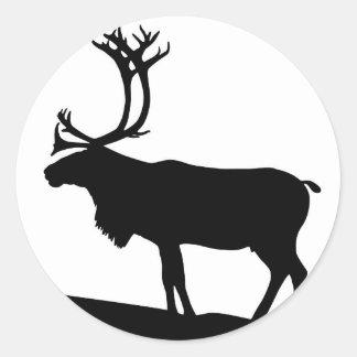 Moose Silhouette Round Sticker