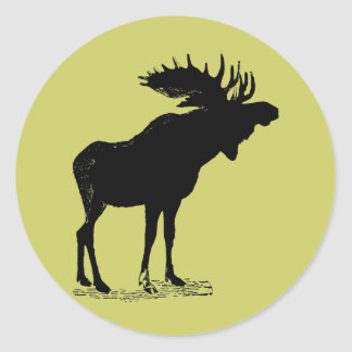 Moose Silhouette Round Sticker