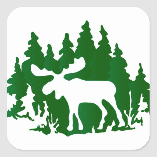 Moose Silhouette Square Sticker
