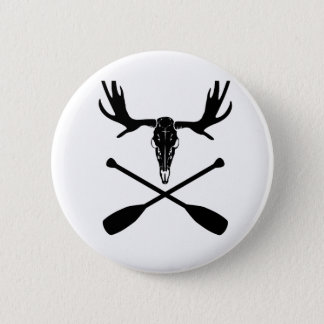 Moose Skull and Crossed Paddles 2 Inch Round Button