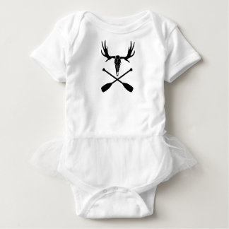 Moose Skull and Crossed Paddles Baby Bodysuit
