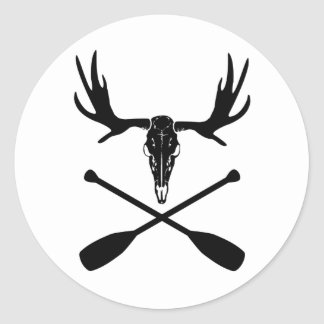Moose Skull and Crossed Paddles Classic Round Sticker