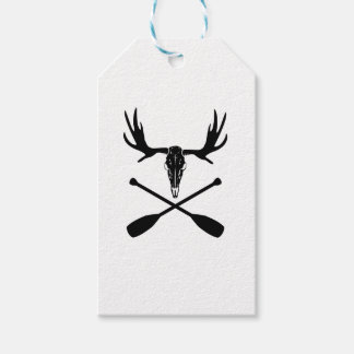 Moose Skull and Crossed Paddles Gift Tags