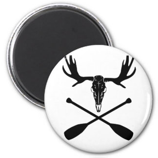 Moose Skull and Crossed Paddles Magnet