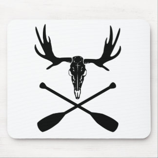 Moose Skull and Crossed Paddles Mouse Pad