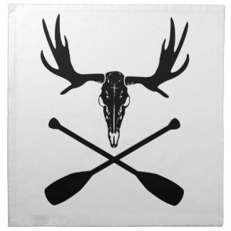 Moose Skull and Crossed Paddles Napkin