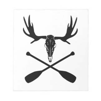 Moose Skull and Crossed Paddles Notepad