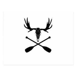 Moose Skull and Crossed Paddles Postcard