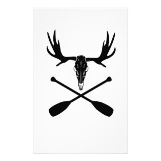 Moose Skull and Crossed Paddles Stationery