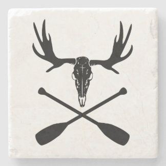 Moose Skull and Crossed Paddles Stone Coaster