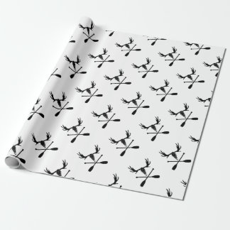 Moose Skull and Crossed Paddles Wrapping Paper