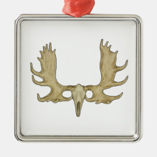 Moose Skull - Antlers Illustration Silver-Colored Square Ornament