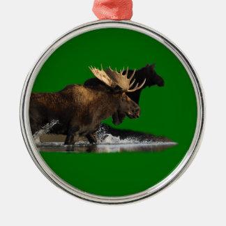 moose splash Silver-Colored round ornament
