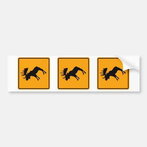 Moose Symbol Yellow Diamond Warning Sign Bumper Stickers