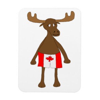 Moose wearing Canadian boxers Rectangular Photo Magnet