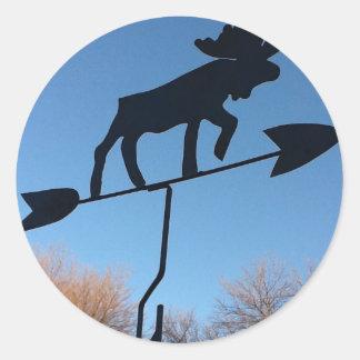 Moose weathervane round sticker
